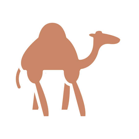 camel over white background, silhouette style icon, vector illustration