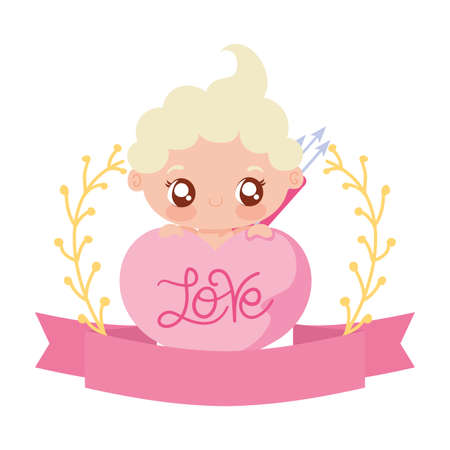 Baby cupid cartoon design of love passion romantic valentines day wedding decoration and marriage theme Vector illustration