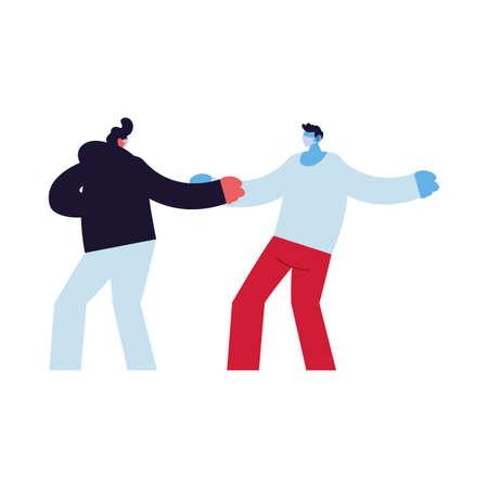 men compromised against increased coronavirus vector illustration design