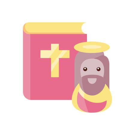 jesus christ religious symbol on white background vector illustration design Иллюстрация