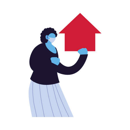 woman takes care of her house vector illustration design