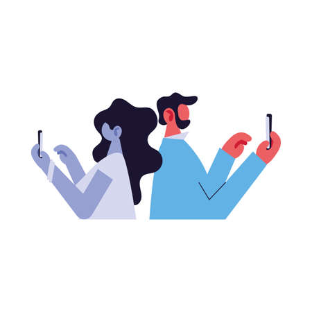 couple connected online by different electronic means vector illustration design Stock Illustratie