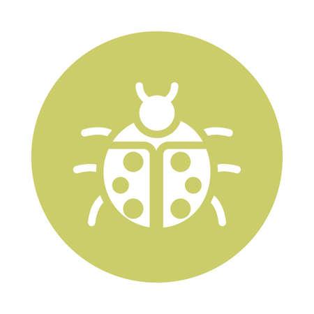 beautiful ladybug , block and flat style icon vector illustration design Illusztráció