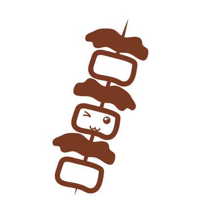 delicious roasted skewer , line style icon vector illustration design Illusztráció