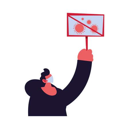man warns of new coronavirus vector illustration design Vektoros illusztráció