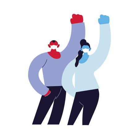 positive couple using face masks vector ilustration designe