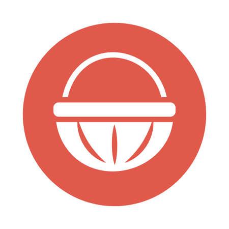 wicker basket , block and flat style icon vector illustration design Ilustrace