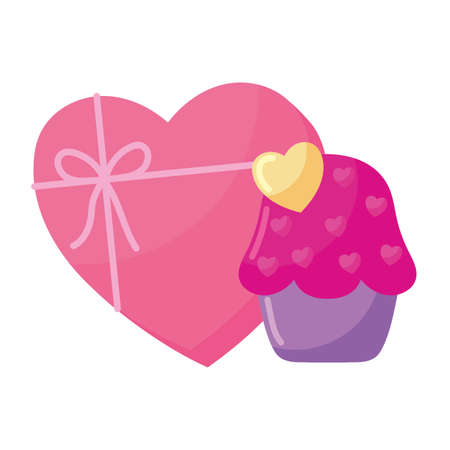 Heart gift and cupcake design of love passion romantic valentines day wedding decoration and marriage theme Vector illustration