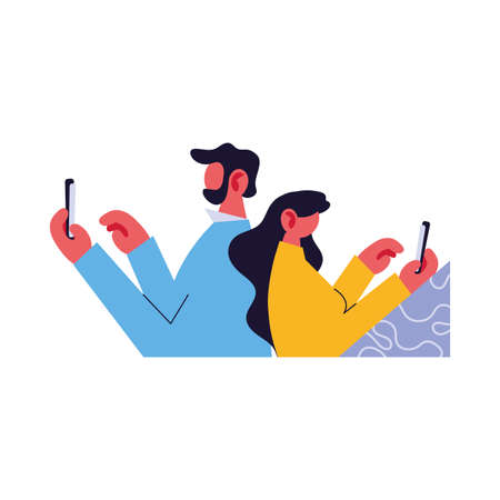 couple connected online by different electronic means vector illustration design Иллюстрация