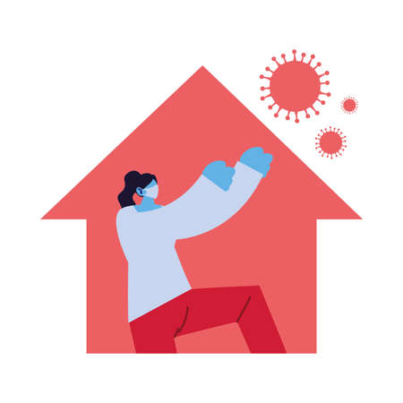 woman at home against increased coronavirus vector illustration design