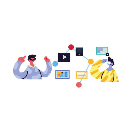 men working and learning online vector illustration design Vectores