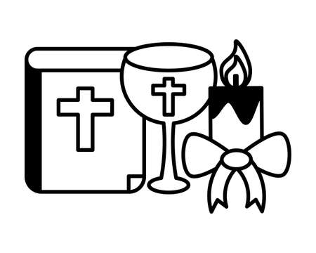 catholic bible with a glass of wine and candle on white background vector illustration design