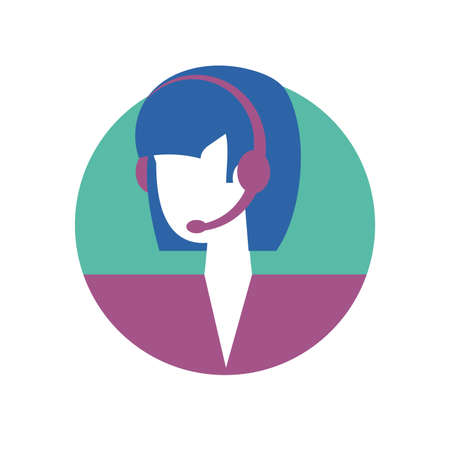 Businesswoman with headphone design, Woman business management corporate job occupation and worker theme Vector illustration Ilustrace