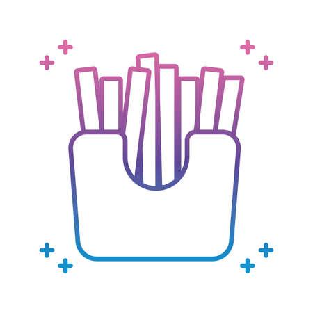 french fries box icon over white background, gradient line style, vector illustration Illusztráció