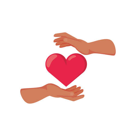 hand with heart on white background vector illustration design Иллюстрация