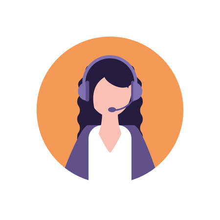 Businesswoman with headphone design, Woman business management corporate job occupation and worker theme Vector illustration Reklamní fotografie - 147339589