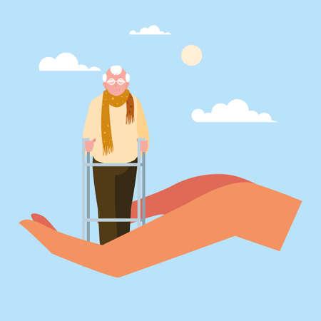 let's take care of the old man vector illustration design
