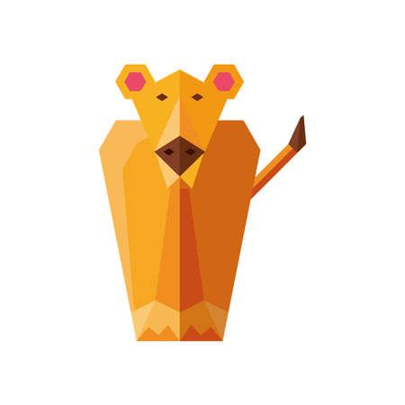cougar geometric wild animals on white background vector illustration design
