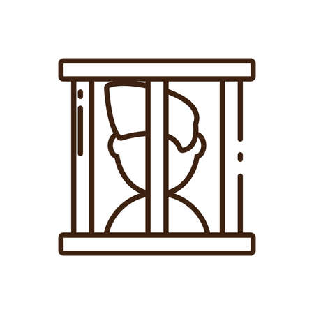 cartoon man in jail icon over white background, line style, vector illustration design