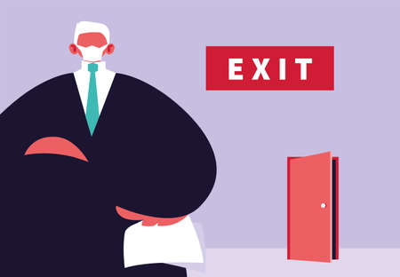 big boss dismisses employees, unemployment by coronavirus vector illustration design Иллюстрация