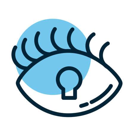 padlocked eye, line style icon vector illustration design
