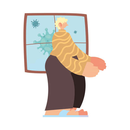 man in preventive isolation due to pandemic vector illustration design Иллюстрация