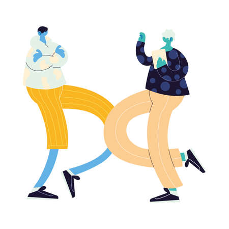 men walking and dancing with style vector illustration design