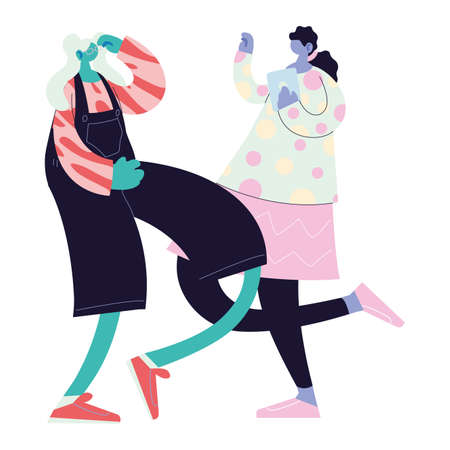 women walking and dancing with style vector illustration design  イラスト・ベクター素材