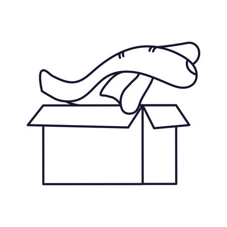 big hand with cardboard box and office supplies, line style icon vector illustration design