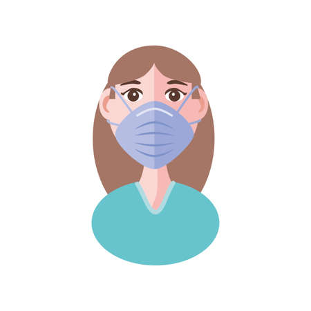 young woman with face mask, coronavirus prevention vector illustration design