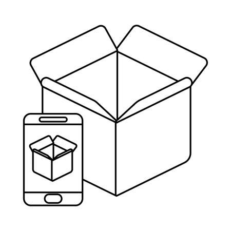 parcel delivery tracking on the smartphone , line style icon vector illustration design