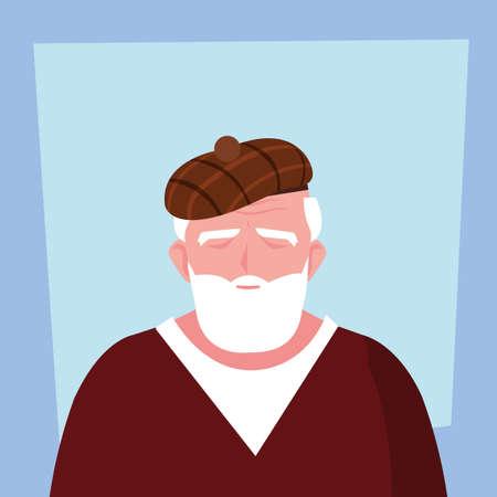 elderly man takes care of himself at home vector illustration design Иллюстрация
