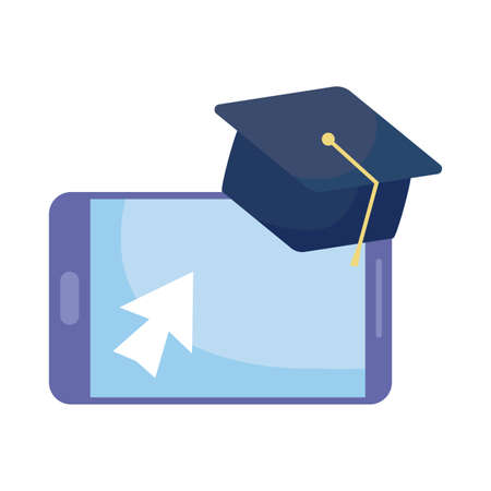 smartphone with graduation cap on white background vector illustration design