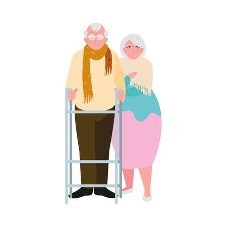 adorable old couple sharing at home vector illustration design Иллюстрация