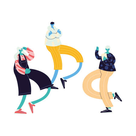 people walking and dancing with style vector illustration design