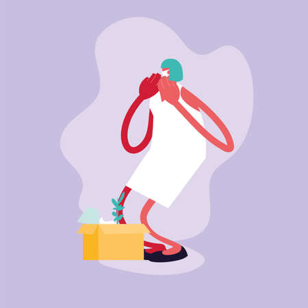 woman jobless by coronavirus, unemployment vector illustration design