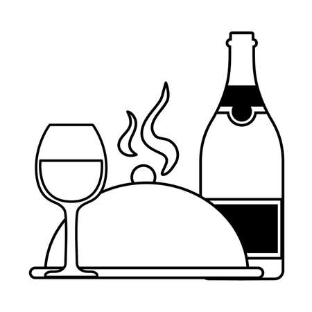 bottle and glass of wine on white background vector illustration design Ilustrace