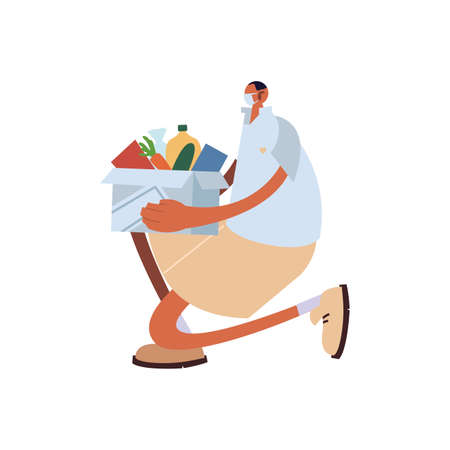man with box food, charity donation on white background vector illustration design