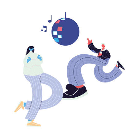 couple listening music and dancing vector illustration design