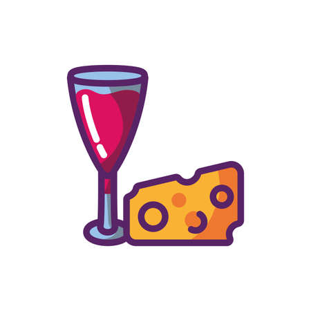 Wine cup and cheese design of Winery alcohol drink beverage restaurant celebration and party theme Vector illustration Illustration
