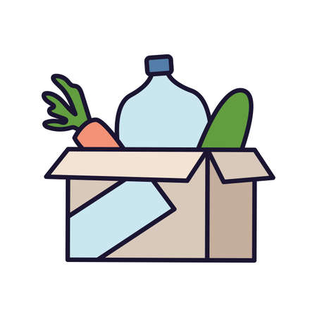 cardboard box with food symbol of donation and charity vector illustration design