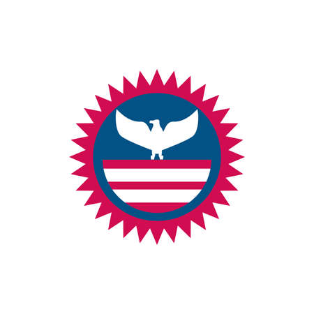 Usa flag and eagle seal stamp design, United states america independence labor day nation us country and national theme Vector illustration
