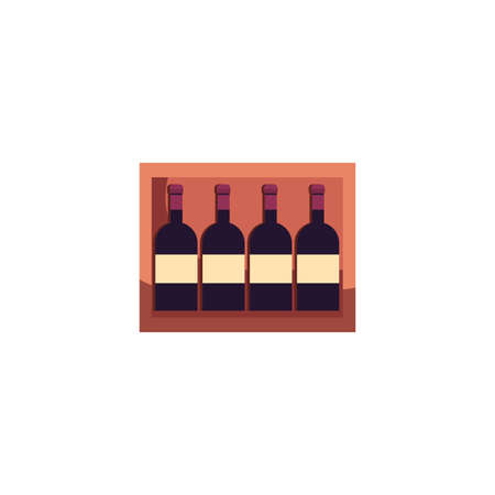 Wine bottles inside box design of Winery alcohol drink beverage restaurant celebration and party theme Vector illustration