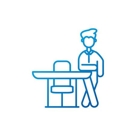Businessman with desk design, Man business management corporate job occupation and worker theme Vector illustration Reklamní fotografie - 147483920