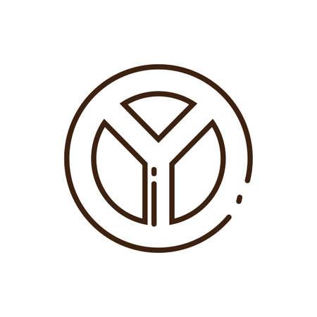 peace symbol icon over white background, line style, vector illustration design