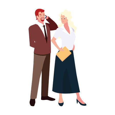 business couple standing on white background vector illustration design 일러스트