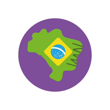 Brazil flag map design, Culture tourism brazilian travel south latin america country and traditional theme Vector illustration