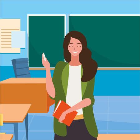 female teacher in the classroom character vector illustration design