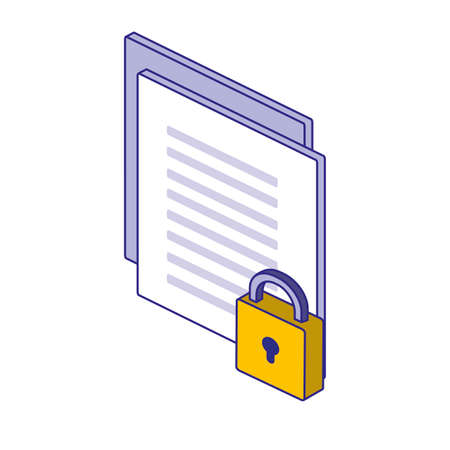 Padlock and document design of Security lock access door house safe safety and protection theme Vector illustration