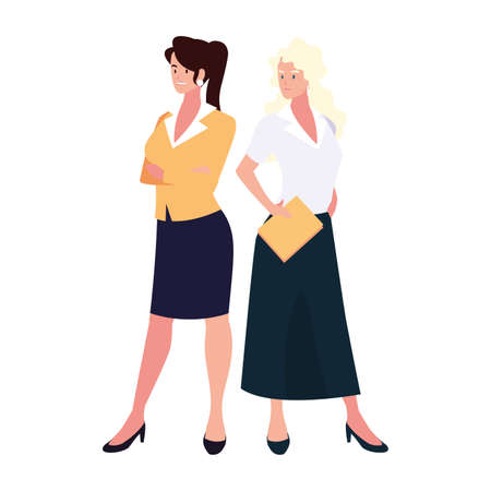 cute businesswomen with various views, poses and gestures vector illustration design 일러스트